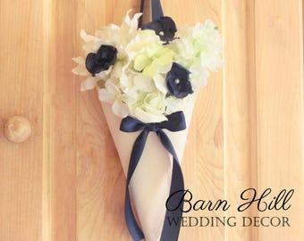 Pew Cones, Wedding Pew Cones, Church Aisle Decoration, Ivory & Navy Pew Cones, Rustic Wedding Decor, Church Flower Holder