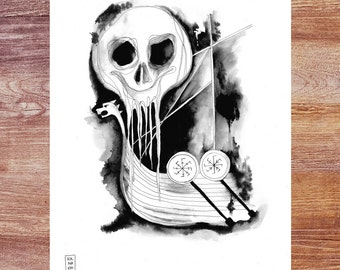 Faering of the Dead - 8.5 x 11 inch print of original ink drawing; Viking ship; death; skull
