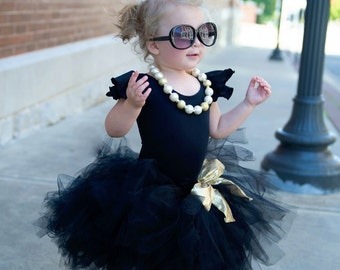 Black tutu, Black and Gold tutu, Baby tutu, Newborn tutu, First Birthday outfit, Tulle skirt, Girls tutu, Toddler tutu, full tutu,photo prop