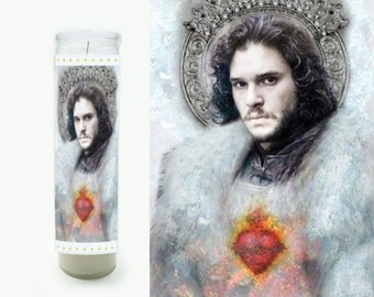 Jon Snow Prayer Candle - Game of Thrones Candle - Game of Thrones Fan Art