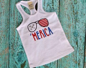 Merica Girls Tank, Baby Tank, Toddler Tank, 'Merica, Racerback Tank, Kids Tank Top, America, USA, Memorial Day, Fourth of July