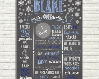 "Winter ONEderland Chalkboard First Birthday Sign 16x20"" Poster Blue Silver OR *Choose Your Own Colors*  Digital File ONLY"