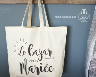 "Cotton Tote Bag XL wedding ""Bazaar [organized #kof] of the bride"""
