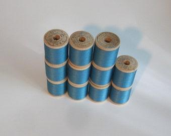 Vintage Wood Spools Thread Belding Corticelli Bel-wax Mercerized Cotton 1950s 11 Spools Stamped