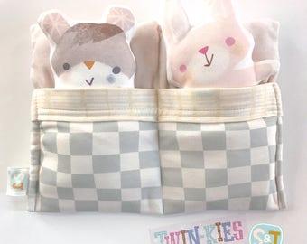 Twinkies organic cotton stuffed animals w/ twin sleeping bag, eco kids toy, softie, nursery room deco, baby shower gift, animal pillow pal