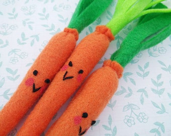 Catnip Carrot, Carrot Cat Toy, Orange, Felt, Kawaii