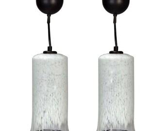 Pair Mid Century Murano Pendant Lights with Black Rims [5186]
