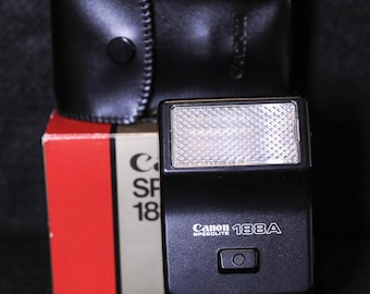 Canon Speedlite 188A Flash, with diffuser, case in original box - Lighting - Vintage Camera Accessories - 1980's #155