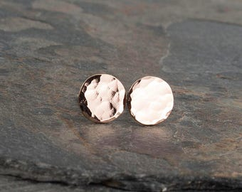 Rose Gold Stud Earrings, Minimalist Earrings, Full Hammered Earrings, Disc Earrings Dot Earrings, Dainty Earrings, Stud Earrings Handmade