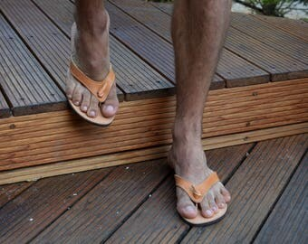 Men's Leather Sandals, Men's Flip Flops in Natural Tan Leather, Men's leather flip flops, Men's Ancient Greek sandals 'Dionysos'