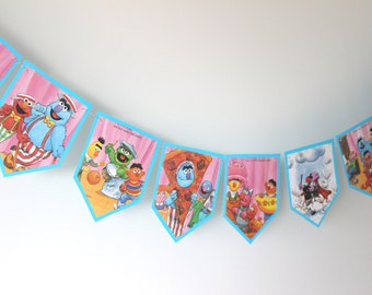 Sesame Street - Recycled Book Bunting - Nursery or Party Decoration
