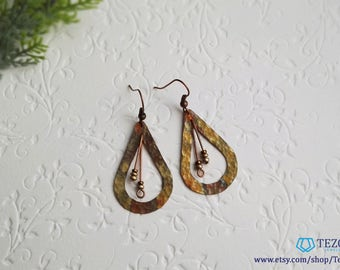 green copper patina dangle earrings, gift for her