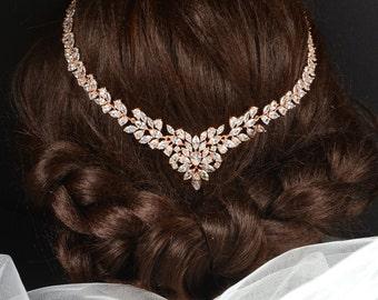 Bridal Antique Bridal Headpiece Vintage Wedding Crystal Rhinestone Crystal Wedding rose gold bohemian