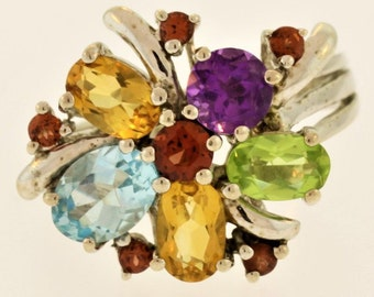 Multi-Color Stone Flower- Sterling Silver