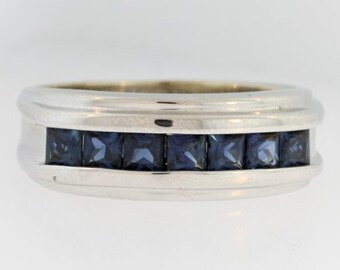 Vintage Mens Sapphire Wedding Ring- 18k White Gold