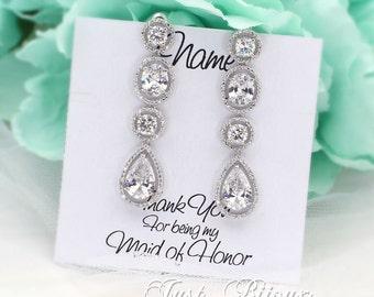 Wedding Earrings Platinum Zirconia Earrings Wedding Jewelry Bridal Earrings Bridesmaid Gift Wedding Jewelry Teardrop Bridesmaid Earrings Kai