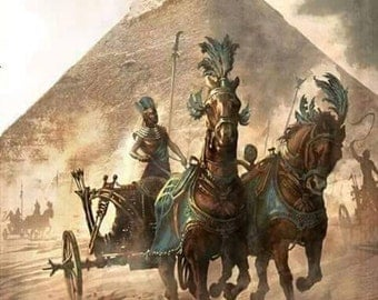 Old Egyptian Chariot At The Pyramids - Egyptian Art - Handmade Oil Painting On Canvas