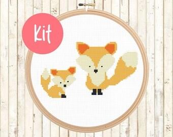 Foxes Cross Stitch Kit - Baby Fox Cross Stitch Pattern - Modern, Cute - Counted Cross Stitch