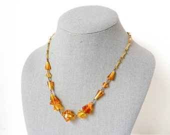 Vintage Czech Crystal Necklace in Orange Topaz Hue from the 1920s Art Deco Period