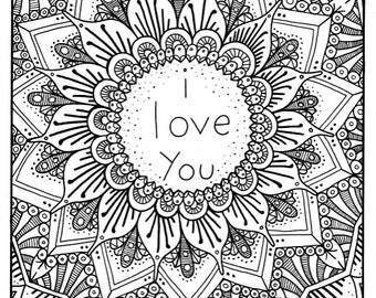 I Love You Coloring Page Book Pages Printable Adult Hand Drawn