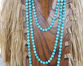 """80"""" Extra Long Turquoise Magnesite Gemstone Necklace, 80"""" Turquoise Beaded Necklace, Long Turquoise Magnesite Necklace, Long Turquoise Beads"""