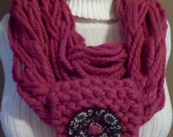 Beautiful Raspberry Hand-Knit Infinity Scarf with Wooden Floral Button - M