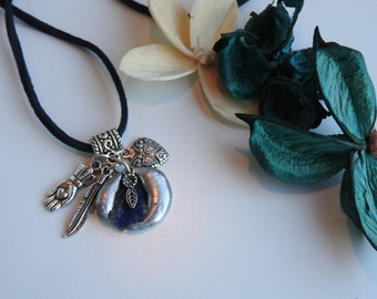Handmade raw lapis lazuli stone necklace and lucky charms - mystical jewelery - gypsy inspired necklace - tin vows gift - unique jewellery