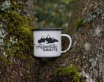 Mountain Camping Mug - Enamel Mug - Adventure Awaits Hiking Mug