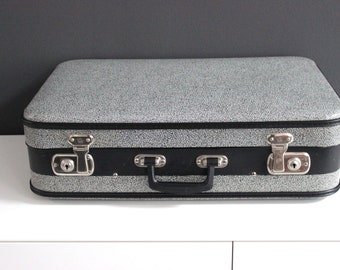 Vintage suitcase suitcase hard shell black white Shabby Chic 50s 60s