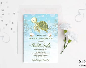 Sea Turtle Baby Shower Invitation. Under Sea Invite. Ocean Invitation. Beach Pool Party. Whimsical Baby Boy Shower. Little Hatchling.  TUR1