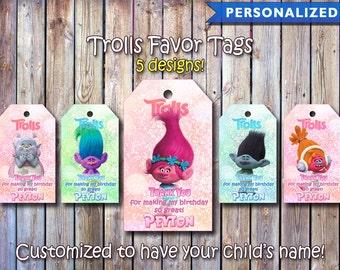 Trolls Thank You Tags, Trolls Favor Tags, Trolls Birthday Tags, Trolls Thank You Card (Printable Digital File)