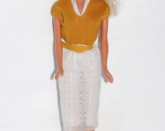 Vintage 1970s Barbie Doll in Yellow & White Outfit w/ Belt, Best Buy Maybe