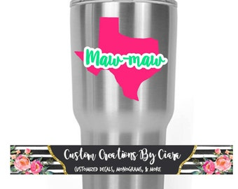 Personalized Any State Decal with Name | Texas Yeti Decal | Name Decal | Texas Monogram Decal | Maw-maw Decal | Name Vinyl | Sticker Car