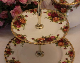 Royal Albert Old Country Roses Serving Plate with Handle, 2 Tier TidBit Tray 1960s First Quality Vintage Tid Bit tray Gift for her