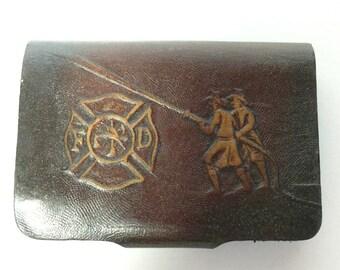Vintage Fire Department Key Holder Leather Firemen Accessories