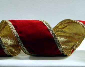4 Inch Red Velvet Christmas Ribbon with Gold Wired Trim & Gold Back ~ Farrisilk Supreme, High Quality, Plush Velvet Christmas Ribbon