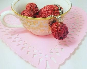 Polymer Clay Zombie Brain Keychains - planner charm