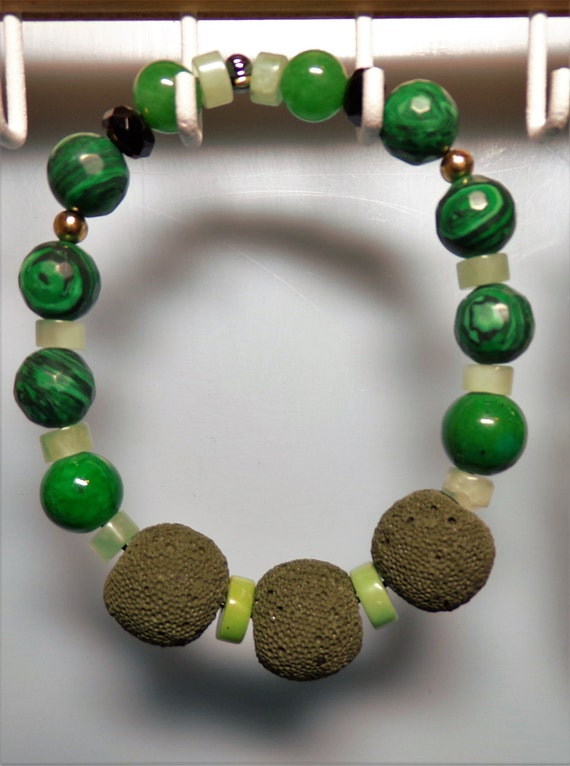 Green Lava and Malachite Men's Bracelet