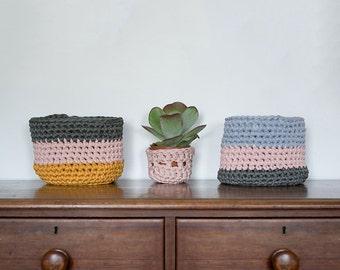 Storage basket set, crochet baskets, bathroom storage, home storage, small storage ideas, nursery storage, toy basket, bedroom organiser