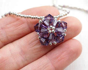 Real SWAROVSKI Purple Crystal Necklace Purple Flower Necklace Petite STERLING Silver Necklace Amethyst Birthstone Necklace February Birthday