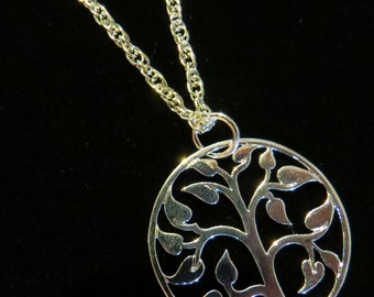 "Large Open Tree of Life Necklace 24"" Twisted Rope Silver Plate Gift Orchard NS110-24"