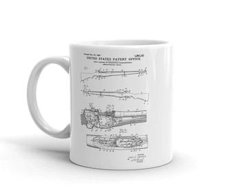 M1 Garand Rifle Patent Mug - Patent Mug, Old Patent Mug, Firearm Art, M1 Rifle, Military Art, Garand Patent, Firearm Mug, Military