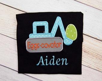 Personalized Eggs-cavator Truck Shirt - Easter Outfit - Easter Bunny Shirt - Easter Applique Outfit - Bunny Bodysuit - Kids Easter Shirt