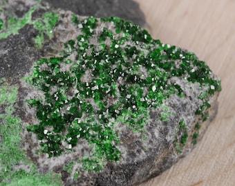 One Large UVAROVITE Crystal Specimen - Top Quality Rare Crystal, Green Calcium Chromium Garnet Crystal, Garnet Stone, Mineral Specimen E0454