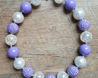 Purple Chunky Necklace, Bubblegum Bead Necklace, Chunky Beads, Baby Bubblegum Necklace, First Birthday, Purple and White Necklace