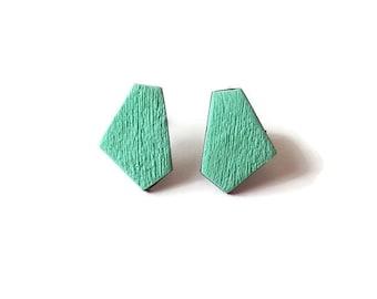 Mint stud earrings, Geometric earrings minimalist, Mint earrings for sensitive ears, Light green stud earrings, Mint green earrings, Simple