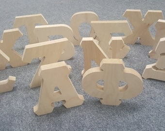wooden greek letters wooden letters etsy 17567