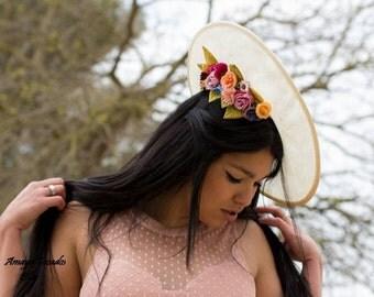 Pamela wedding flowers made traditional way, a real luxury, headdress, wedding guest / Fascinator Headpiece, hat, handmade flower