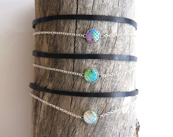 Mermaid Scale Choker Necklace - Dragon Scale Necklace - Minimalist Mermaid Necklace - Mermaid Jewelry - Mermaid Gift - Ocean Jewelry