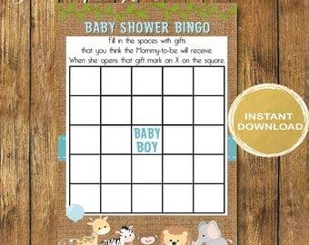 Safari Baby Shower Bingo Cards -  Bingo  Blank Cards - Digital Instant Download -Safari Baby Shower Game -